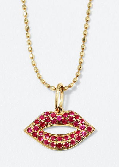 14k Gold Ruby Lips Pendant Necklace, Small