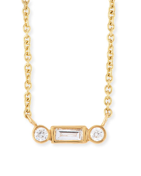 Bezel Baguette Diamond Necklace
