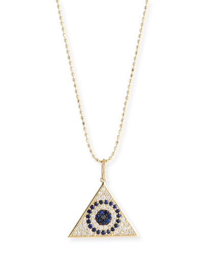 Pyramid Mosaic Circle Necklace with Diamonds & Sapphires