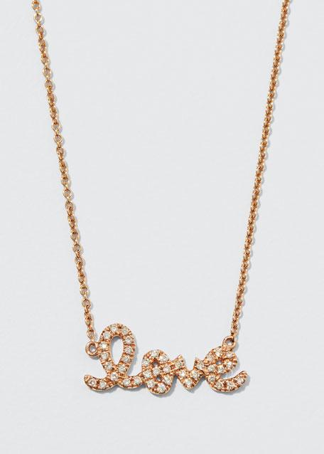 Gold Diamond Love Necklace, Small