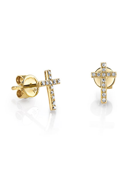 Sydney Evan 14k Gold Diamond Cross Single Stud