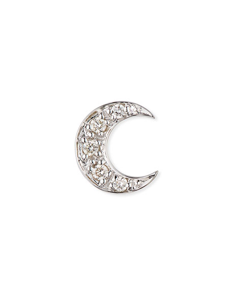 Sydney Evan 14k Pave Diamond Crescent Moon Single