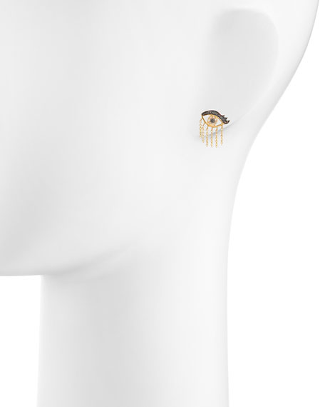 14K Short Fringe Lash Stud Earring with Diamonds