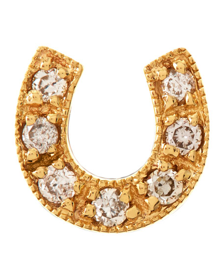 14K Mini Starburst Single Stud Earring with Diamonds