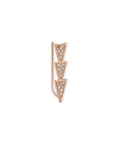 14k Rose Gold Triple Diamond Triangle Earring