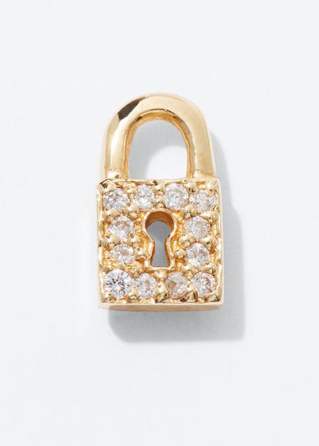 14k Diamond Lock Single Stud Earring