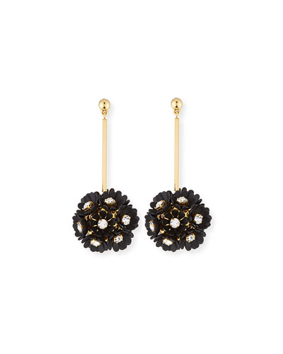 Plumeria Crystal Drop Earrings  Black