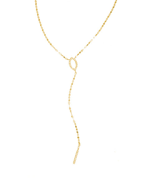 LANA Flawless 14K Marquis Mini Diamond Lariat Necklace