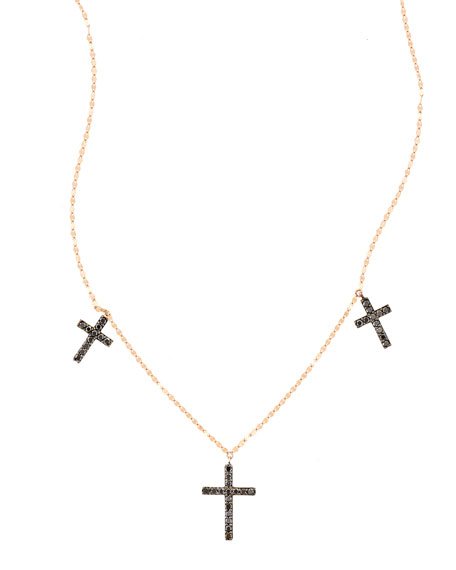 Reckless Vol. 2 Triple Cross Black Diamond Necklace in 14K Rose Gold