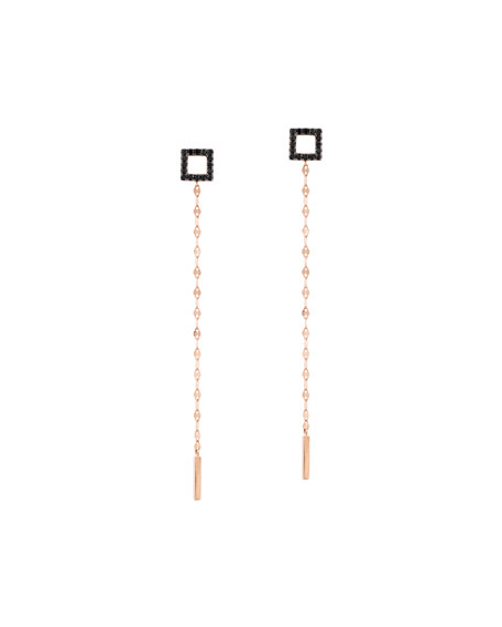 Reckless Vol. 2 14K Rose Gold Black Diamond Square Duster Earrings
