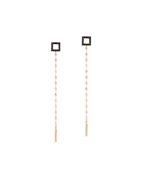 Reckless Vol. 2 14K Rose Gold Black Diamond Square Duster Earrings