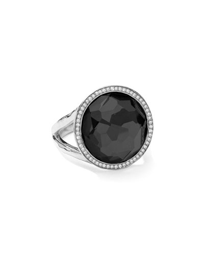 Stella Lollipop Ring in Hematite & Diamonds, 0.23ct