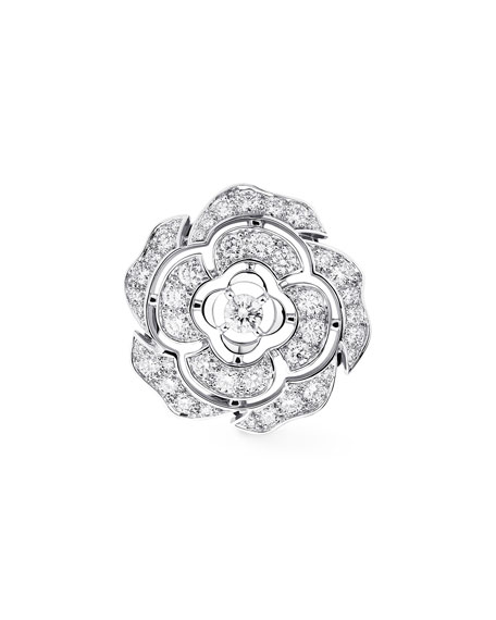 BOUTON DE CAMELIA Brooch in 18K White Gold and Diamonds