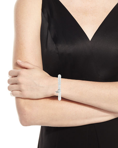 8mm Mystic Gray Moonstone Beaded Bracelet with Diamond Starburst Charm