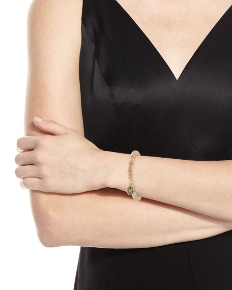 6mm Australian Moonstone Beaded Bracelet with Diamond Butterfly Charm
