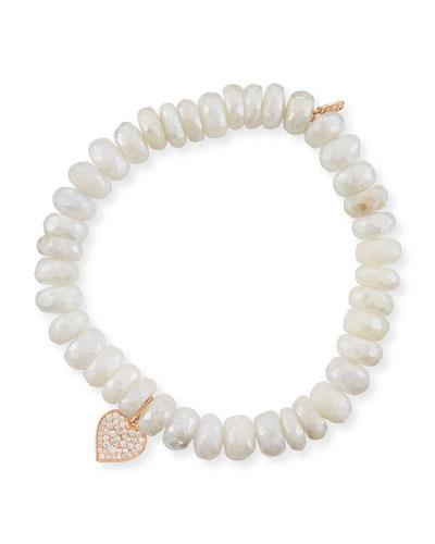 Anniversary Sapphire Beaded Bracelet with Diamond Heart Charm