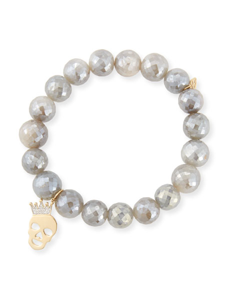 Sydney Evan 10mm Mystic Gray Moonstone Bracelet with