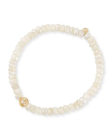 5mm White Sapphire Beaded Bracelet with Diamond Bezel Ball
