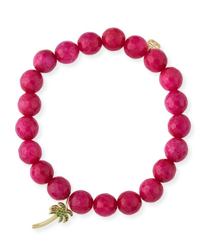 8mm Beaded Hot Pink Chalcedony Bracelet with Palm Tree Charm
