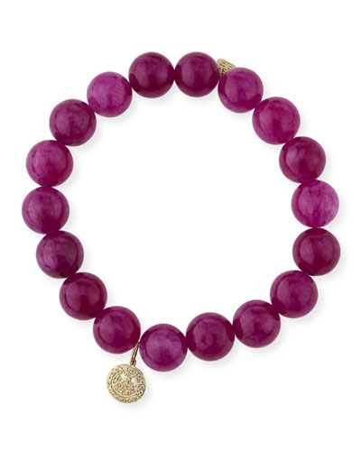10mm Berry Jade Beaded Bracelet with Diamond Happy Face Charm