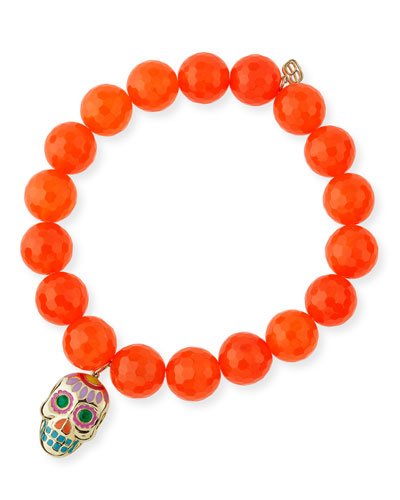 10mm Beaded Orange Agate Bracelet with Sugar Skull Charm