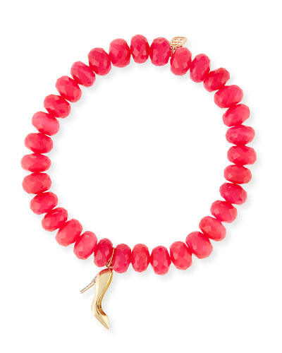 8mm Hot Pink Chalcedony Beaded Bracelet with Diamond Stiletto Charm