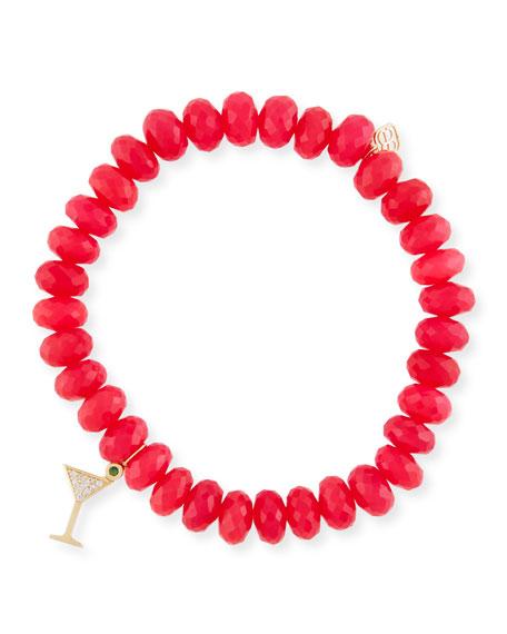Hot Pink Chalcedony Beaded Bracelet with Diamond Martini Charm