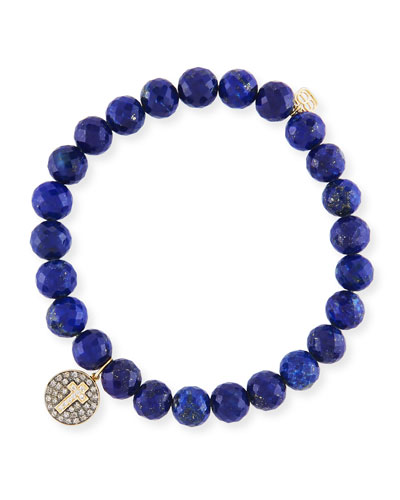 7mm Beaded Lapis Bracelet with Diamond Cross Medallion Charm
