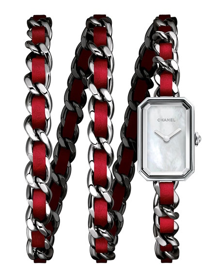 CHANELPREMIÈRE Triple-Row Red Leather Chain Watch