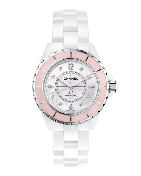 J12 White 38MM Ceramic Watch with Diamonds