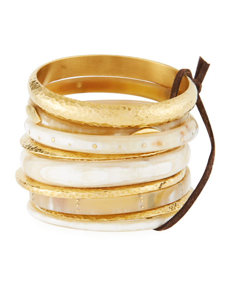 Light Horn & Bronze Stacking Bangles, Set of