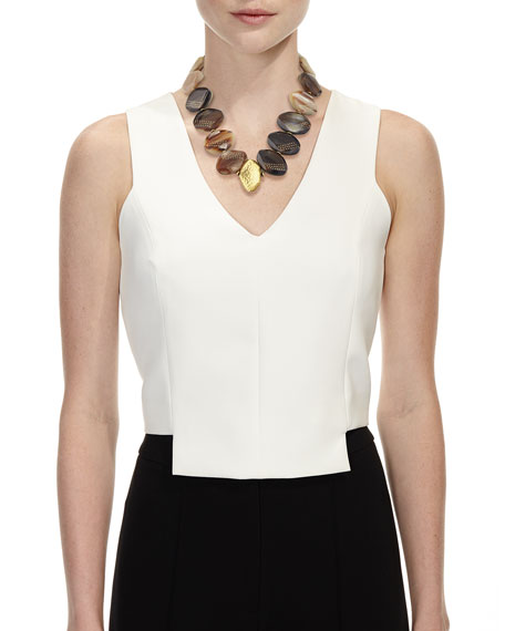 Shari Mixed Horn Petal Collar Necklace