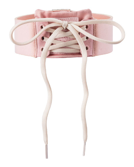 Lace-Up Choker Collar, Pink/White