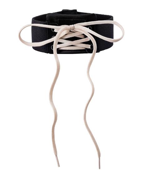 Lace-Up Choker Collar, Black/White