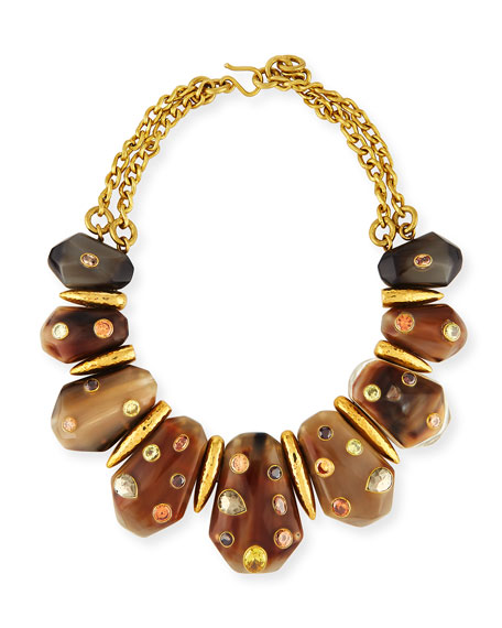 Ashley Pittman Lipua Mixed Horn Collar Necklace