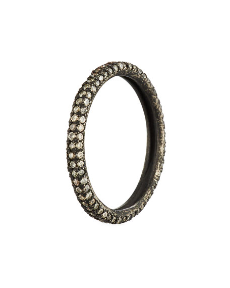 Old World Blackened Band Ring with Champagne Diamonds