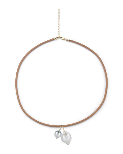 Sea of Beauty Leather Cord Necklace with Pearl Charms