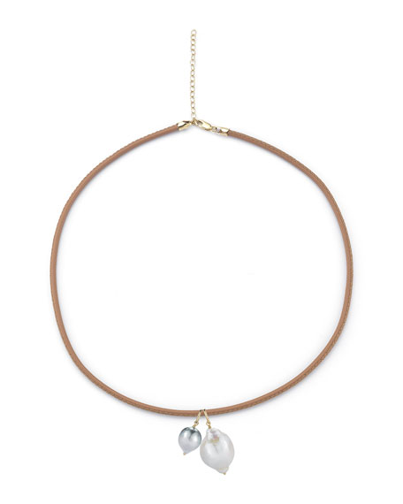 Mizuki Sea of Beauty Leather Cord Necklace with