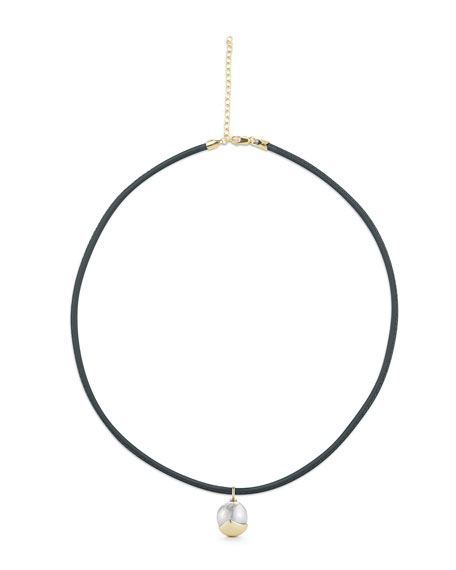 Fluid Leather Necklace with Pearl Charm