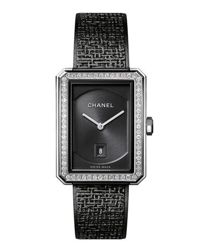 BLACK TWEED MEDIUM DIAMOND BEZEL WATCH