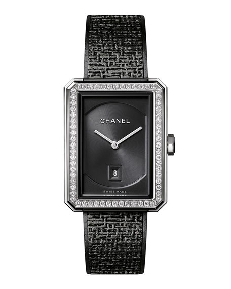 Black Tweed Medium Diamond Bezel Watch