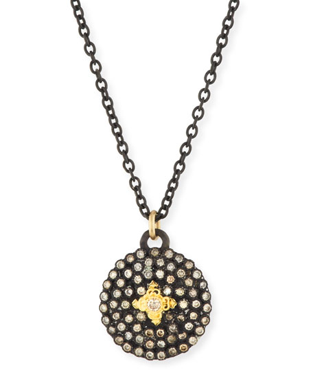 Armenta Old World Midnight Small Round Shield Pendant