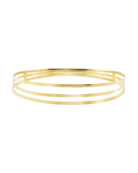 14K Gold Triple-Row Bangle Bracelet