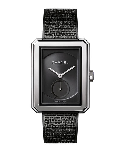 Black Tweed Large Watch