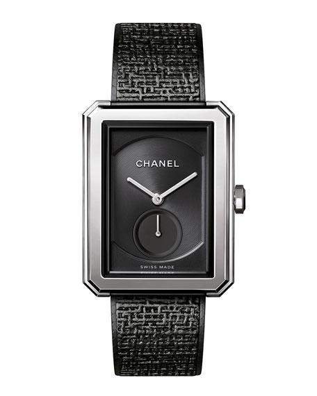 Black Tweed Large Watch