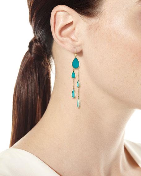 18K Polished Rock Candy Multi-Pear 2-Chain Drop Earrings in Turquoise