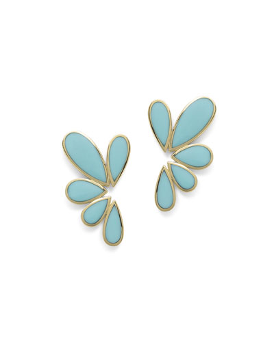 18K Polished Rock Candy Multi-Pear Earrings in Turquoise