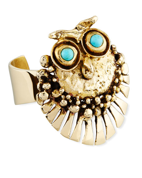 LISA EISNER JEWELRY BRONZE OWL CUFF BRACELET WITH TURQUOISE