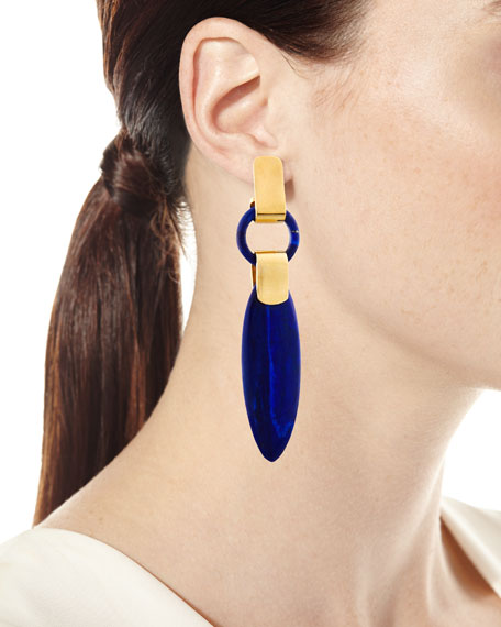 Long Lapis Spear Drop Earrings