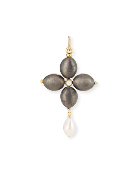 Black Silver Cross Charm with Pearl